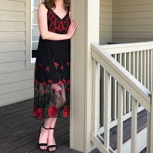 Black Red flower dress sheer